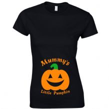 Mummy's Little Pumpkin Ladies Fitted T-Shirt Funny Halloween Pregnancy Gift Top
